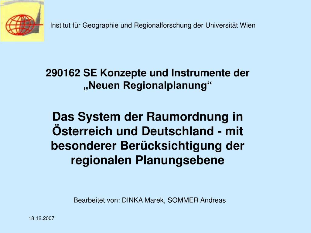 institut f r geographie und regionalforschung der universit t wien l.