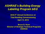 ASHRAE's Building Energy Labeling Program bEQ