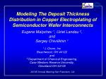 Modeling The Deposit Thickness Distribution in Copper Electroplating of Semiconductor Wafer Interconnects