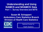 Understanding and Using NAMCS and NHAMCS Data Part 1 – Survey Overview and SETS Susan M. Schappert Ambulatory Care Stat