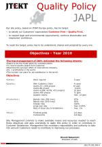 Objectives - Year 2010