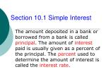 Section 10.1 Simple Interest
