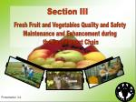 Fresh Fruit and Vegetables Quality and Safety Maintenance and Enhancement during the Post-harvest Chain