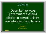 SS7CG4a Describe the ways government systems distribute power: unitary, confederation, and federal.