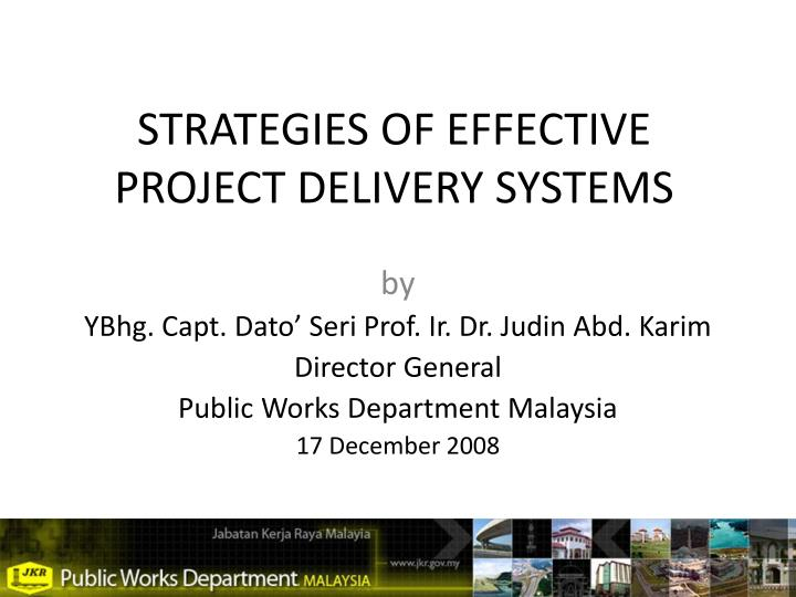 strategies of effective project delivery systems n.