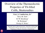 Overview of the Thermoelectric Properties of Yb-filled                    CoSb 3  Skutterudites