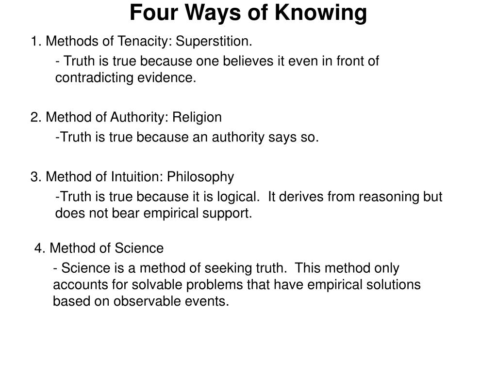 four ways of knowing l.