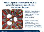 Metal-Organic Frameworks (MOFs)  as low temperature adsorbents  for carbon dioxide.