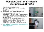 PUB 3000 CHAPTER 3.15 Medical Emergencies and First Aid