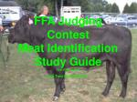 FFA Judging Contest Meat Identification Study Guide First Edition, 2003