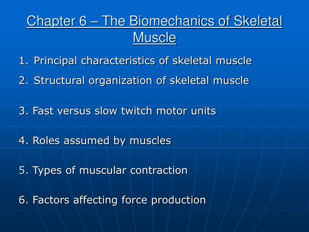 chapter 6 the biomechanics of skeletal muscle l.