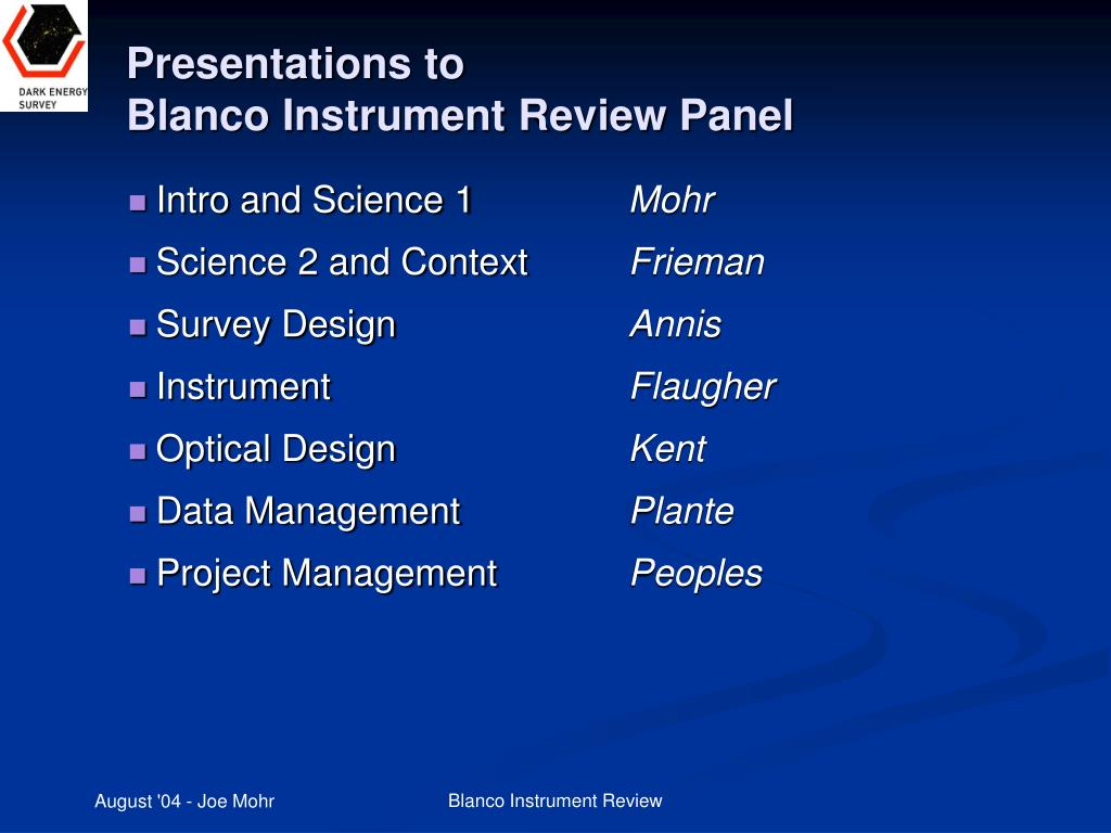 presentations to blanco instrument review panel l.