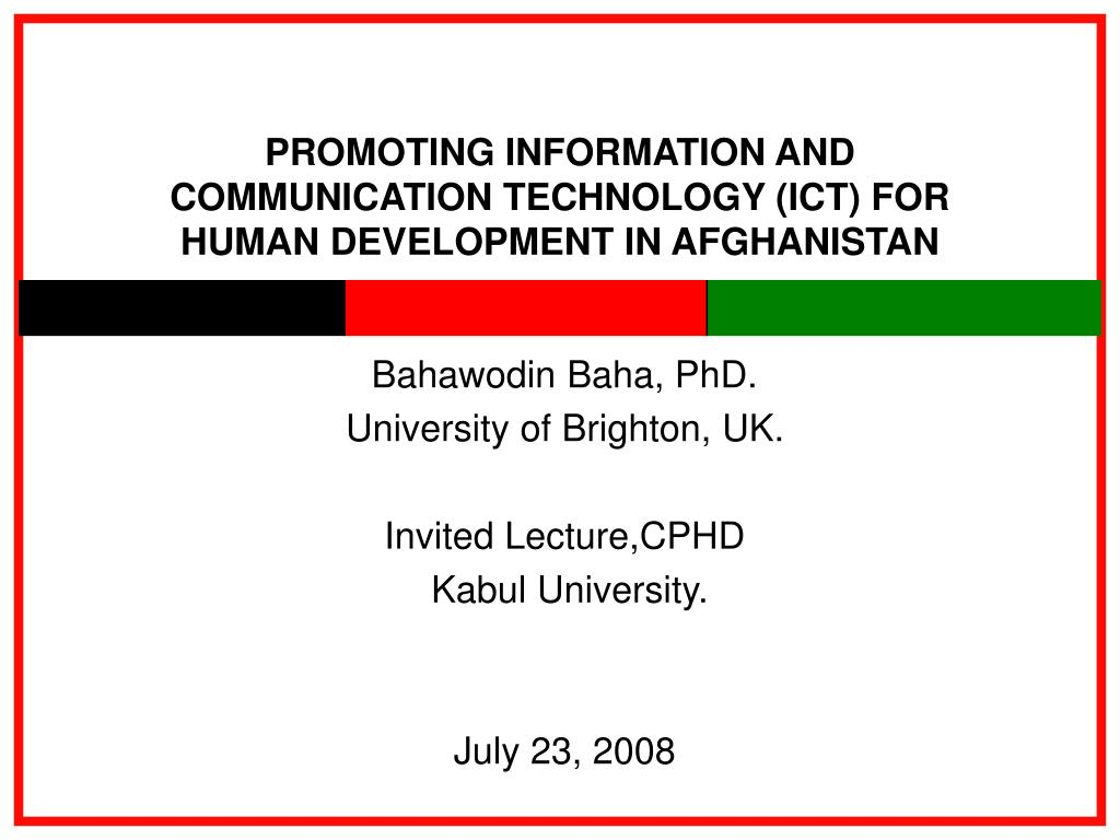 promoting information and communication technology ict for human development in afghanistan l.