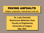 PAVING ASPHALTS Origins, properties, manufacture and use