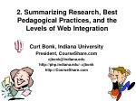 2. Summarizing Research, Best Pedagogical Practices, and the Levels of Web Integration