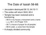 The Date of Isaiah 56-66