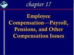 Employee Compensation—Payroll, Pensions, and Other Compensation Issues