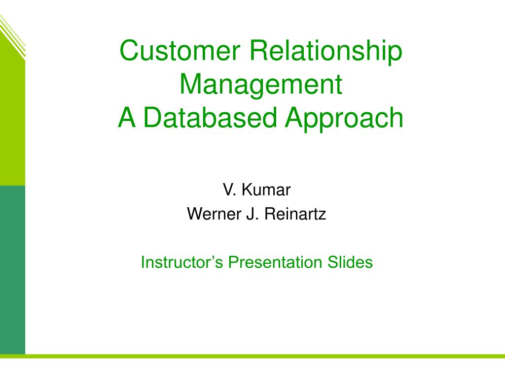 customer relationship management a databased approach l.