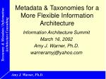 Metadata & Taxonomies for a More Flexible Information Architecture