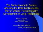 The Socio-economic Factors Affecting the Role that Nurseries Play in Efficient Forest Industry Development in Leyte, Phi