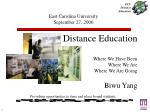 Distance Education Where We Have Been Where We Are Where We Are Going Biwu Yang Providing opportunities to time and pl