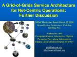 A Grid-of-Grids Service Architecture for Net-Centric Operations: Further Discussion