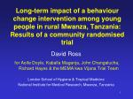 Long-term impact of a behaviour change intervention among young people in rural Mwanza, Tanzania: Results of a community