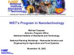 NIST's Program in Nanotechnology