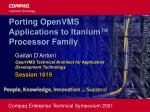 Porting OpenVMS Applications to Itanium™ Processor Family