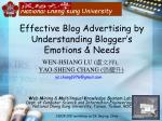 Effective Blog Advertising by Understanding Blogger's Emotions & Needs