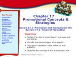 Chapter 17 Promotional Concepts & Strategies Section 17.1 Promotion and Promotional Mix Section 17.2 Types of Prom