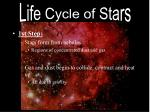 1st Step: Stars form from nebulas Regions of concentrated dust and gas Gas and dust begin to collide, contract and heat