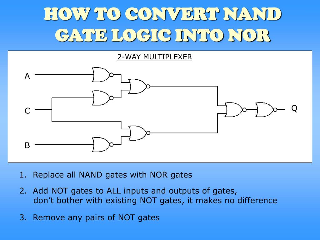 how to convert nand gate logic into nor l.
