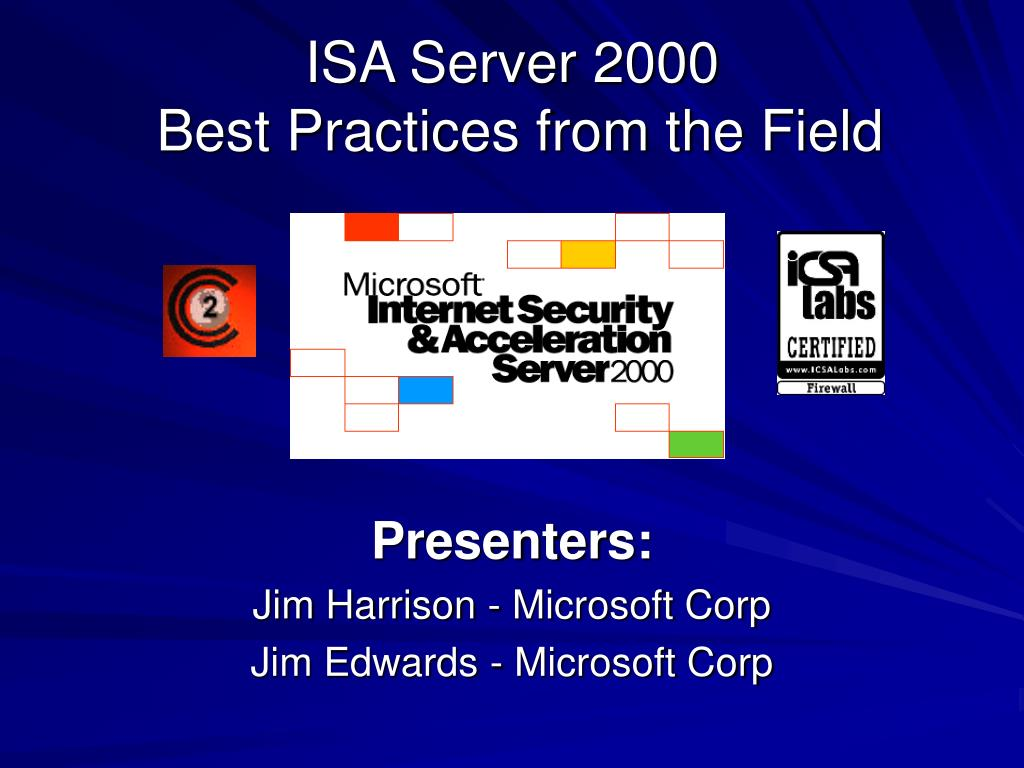 isa server 2000 best practices from the field l.