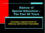 History of Special Education—The Past 60 Years