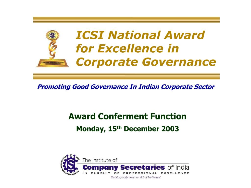 icsi national award for excellence in corporate governance l.