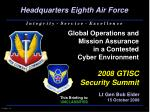 Global Operations and  Mission Assurance in a Contested Cyber Environment 2008 GTISC Security Summit
