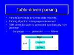 Table-driven parsing