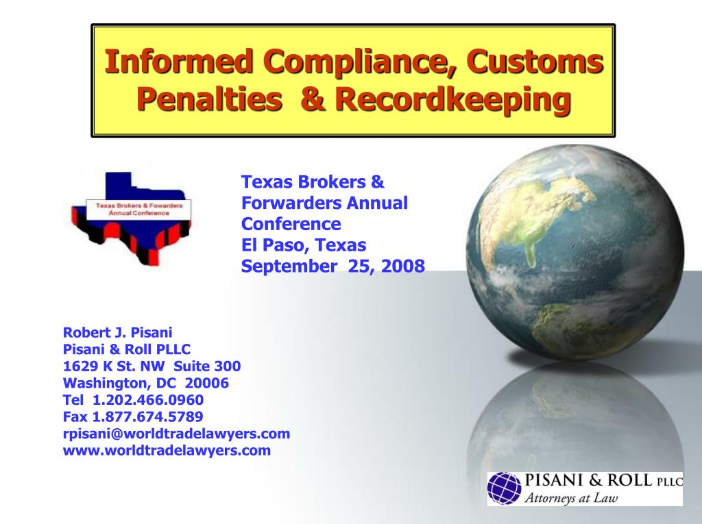 informed compliance customs penalties recordkeeping l.