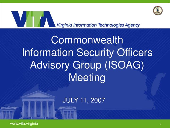 commonwealth information security officers advisory group isoag meeting n.