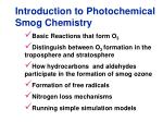 Introduction to Photochemical Smog Chemistry