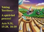 Taking Territory- A spirit-led process! Acts 9:31, 15:28, 16:10