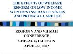 THE EFFECTS OF WELFARE REFORM ON LOW INCOME WOMEN'S INSURANCE STATUS AND PRENATAL CARE USE