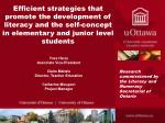 Efficient strategies that promote the development of literacy and the self-concept in elementary and junior level studen