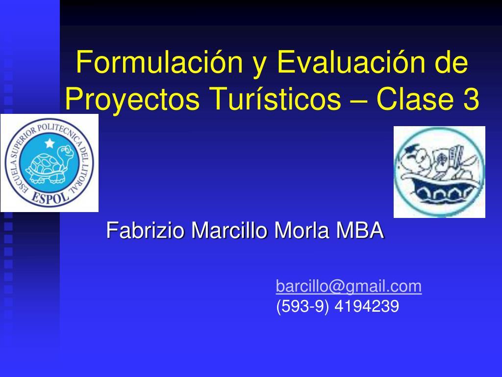 formulaci n y evaluaci n de proyectos tur sticos clase 3 l.