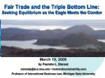 Fair Trade and the Triple Bottom Line: Seeking Equilibrium as the Eagle Meets the Condor