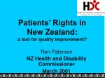 Patients' Rights in New Zealand: a tool for quality improvement?