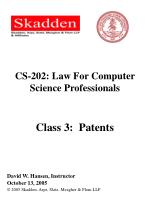 CS-202: Law For Computer Science Professionals Class 3: Patents