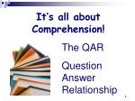 It's all about Comprehension!