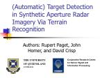 (Automatic) Target Detection in Synthetic Aperture Radar Imagery Via Terrain Recognition